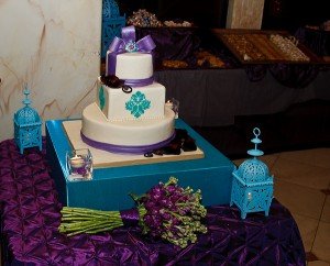 Purple And Turquoise Wedding Cake This